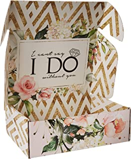 Bridesmaid Proposal Box Empty | Gold and Floral Design |