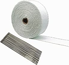 TAKPART 15M x 5cm Car Titanium Exhaust Heat Ties Wrap Roll White Tape for Motorcycle with 15 Cable Ties 30cm
