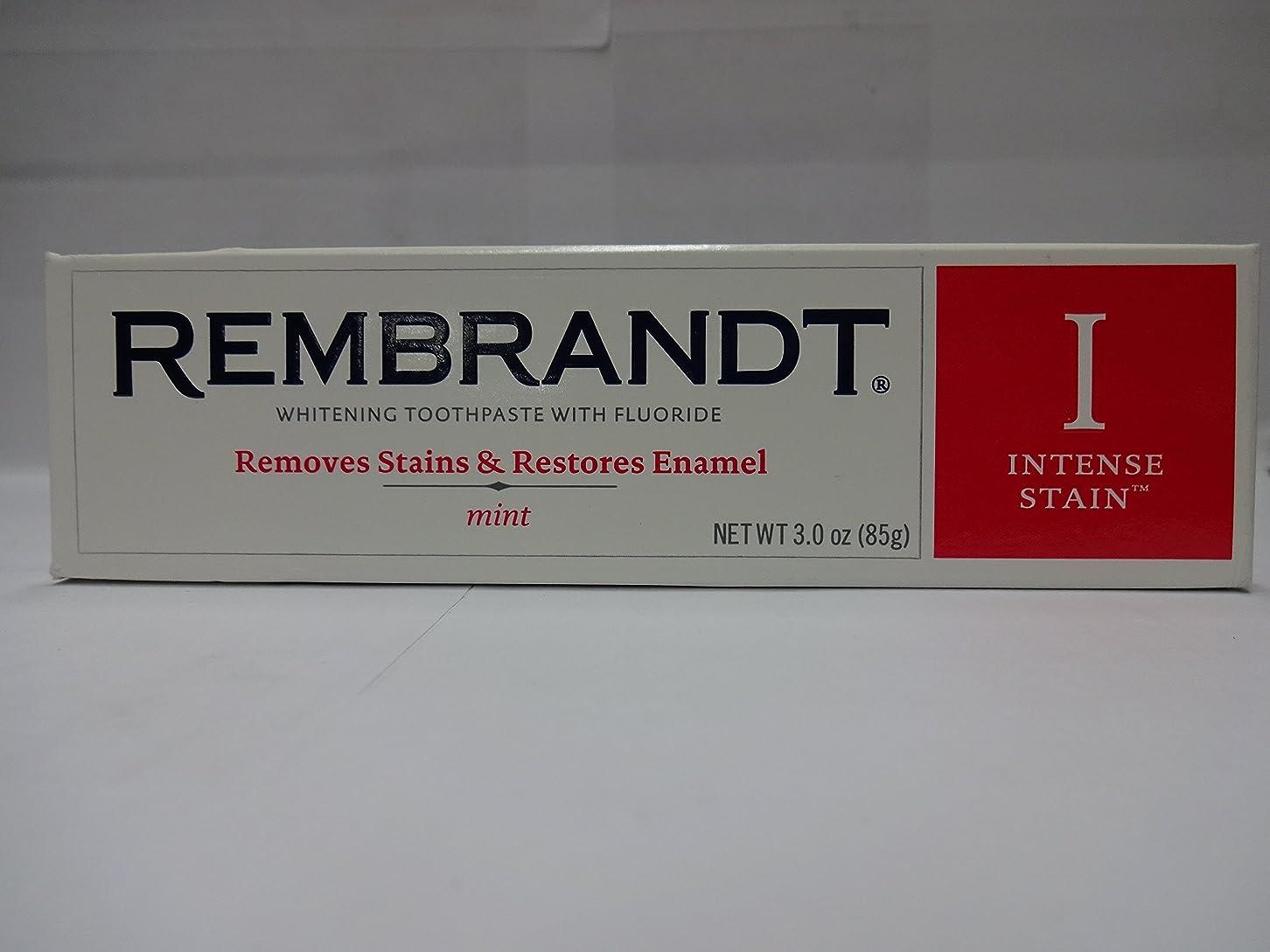 リムあそこのためにRembrandt フッ化物、ミント3オズ(6パック)との激しいステインホワイトニングハミガキ