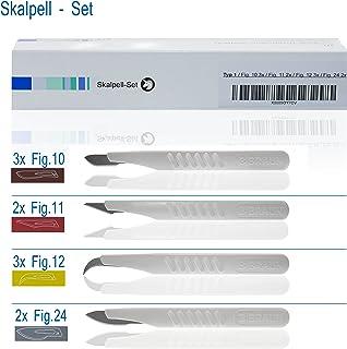 Horn Medical - Conjunto de bisturí desechable Type I, Fig 10 (3x), Fig 11(2x), Fig 12 (3x), Fig 24 (2x), estériles, 10 bisturís para medicina y pasatiempo