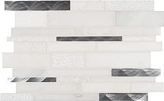MS International AMZ-MD-00123 Moderno Blanco Interlocking Tile 12 in. x 18 in. White 10 Piece