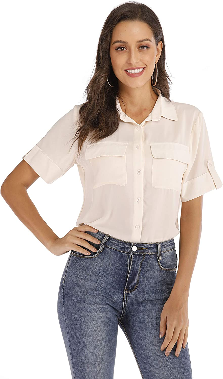 SUNNOW Women's Short Sleeve Office Work Chiffon Blouses Button Down Casual Shirts (L, Apricot) …