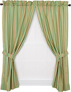 Ellis Curtain Warwick Medium Scale Stripe 68 by 63-Inch Tailored Panel Pair Curtains with Tiebacks, Green