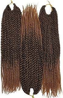 3Packs/Lot Thin Senegalese Twist Braiding Hair Bulk Ombre #Black/Brown Color Synthetic Fiber Crochet twisting Braiding Hair Extensions 12inch 30strands/pack 50gram/pc