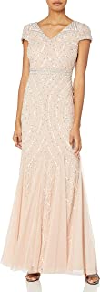 Women's Cap Sleeve Beaded Lace Godet Gown