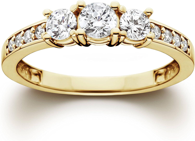 1 Ct 3-Stone Diamond Engagement Ring 10K Yellow Gold