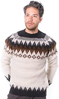 Warm and Soft Alpaca Sweater for Men - Natural with Brown Geometrical Design