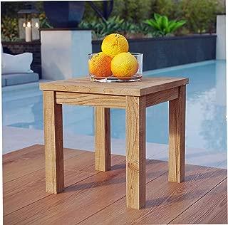 Patio Outdoor Garden Premium Marina Teak Wood Outdoor Patio Side Table in Natural
