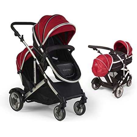 Duel combo Double pushchair with carrycot pram Newborn & toddler, tandem travel system buggy convertible carrycot to seat unit and toddler/child seat unit, including 2 Footmuffs, 2 rain covers Silver Chassis, Berry Red by kids kargo