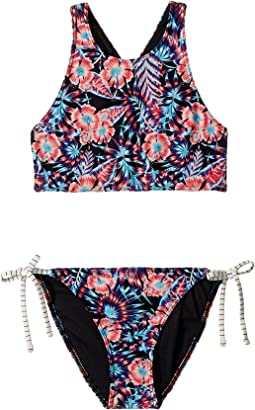 Roxy Kids - Surfing Miami Print Crop Top Set (Big Kids)