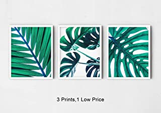 Green Tropical Leaf Botanical Wall Art 3 Piece Print Set 8x10, Trendy Calm Monstera and Palm Leaves for Bathroom, Bedroom Home Decor