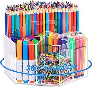 دارنده قلم آکریلیک ماربراس ، سازنده قلم شفاف چرخشی 360 درجه برای میز با 6 محفظه ، نگه داشتن 600 مداد ، میز تحریر دسکتاپ Caddy برای دفتر مدرسه خانه