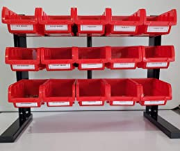 806 Piece Nut Bolt and Washer Assortment Hex Head Bolts, Hex Nuts, Flat Washers Standard Grade 8 Coarse Thread with 15 Red Plastic Stacking and Hanging Bins with a Bench Stand