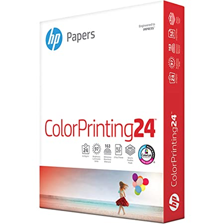 HP Printer Paper   8.5 x 11 Paper   ColorPrinting 24 lb   1 Pack - 400 Sheets   97 Bright   Made in USA - FSC Certified   202040R