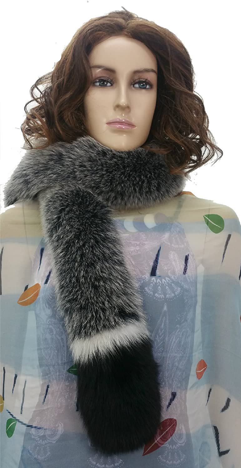 51  Fox Fur Scarves Collar, Black Frosted with White and Black