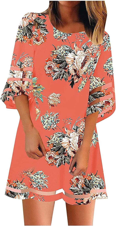 Women Casual O-Neck Net Yarn Flared Sleeve Print Dress Summer Beach Flowy Dress Loose Stylish Dress