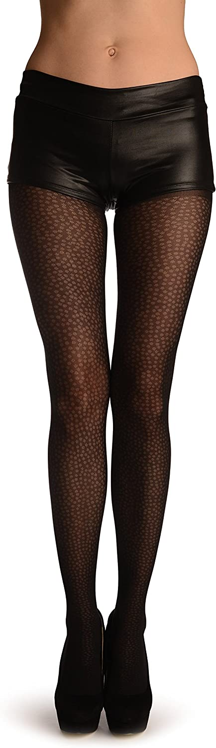 Black With Semi Transparent Woven Dots - Black Pantyhose (Tights)
