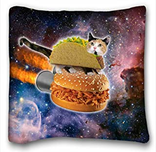 Tarolo Funny Taco Cat Riding Hamburger in Space Pillowcase Zippered Pillowcase, Pillow Protector, Best Pillow Cover Size 20x20 Inches Two Sided Print