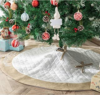 DegGod 48 Inches Cotton Christmas Tree Skirt with Jute Border, Large White Quilted Xmas Tree Base Cover Mat for Christmas ...