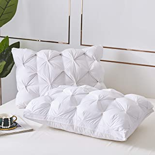 LESNNCIER Premium Queen Size Goose Down and Feather Pillow for Sleeping,2 Pillows,1200 Thread Count 100% Egyptian Cotton Fabric,Durable and Softness with Beautiful Pinch Pleat Design