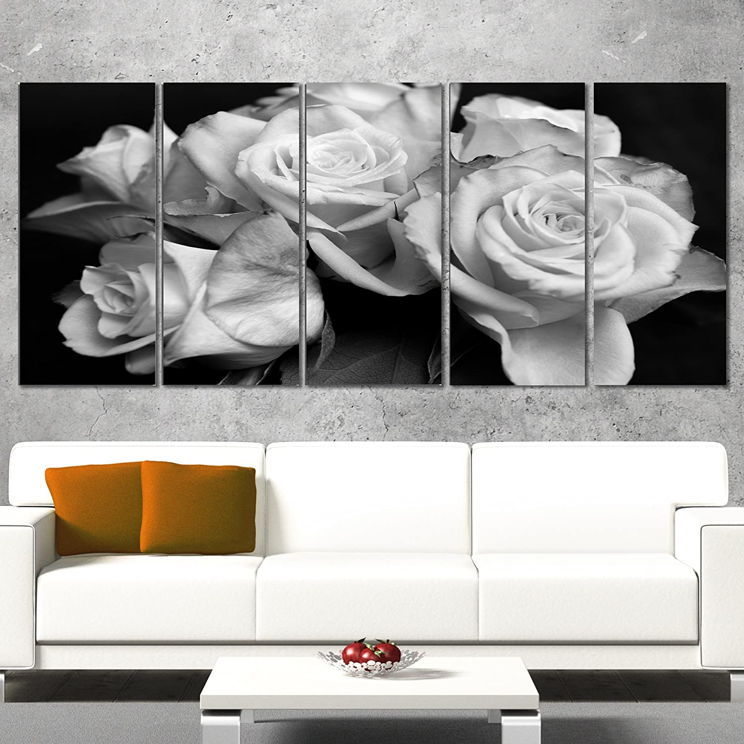 shopping Designart Bunch of Roses Black Award Canvas and White-Floral Art Print