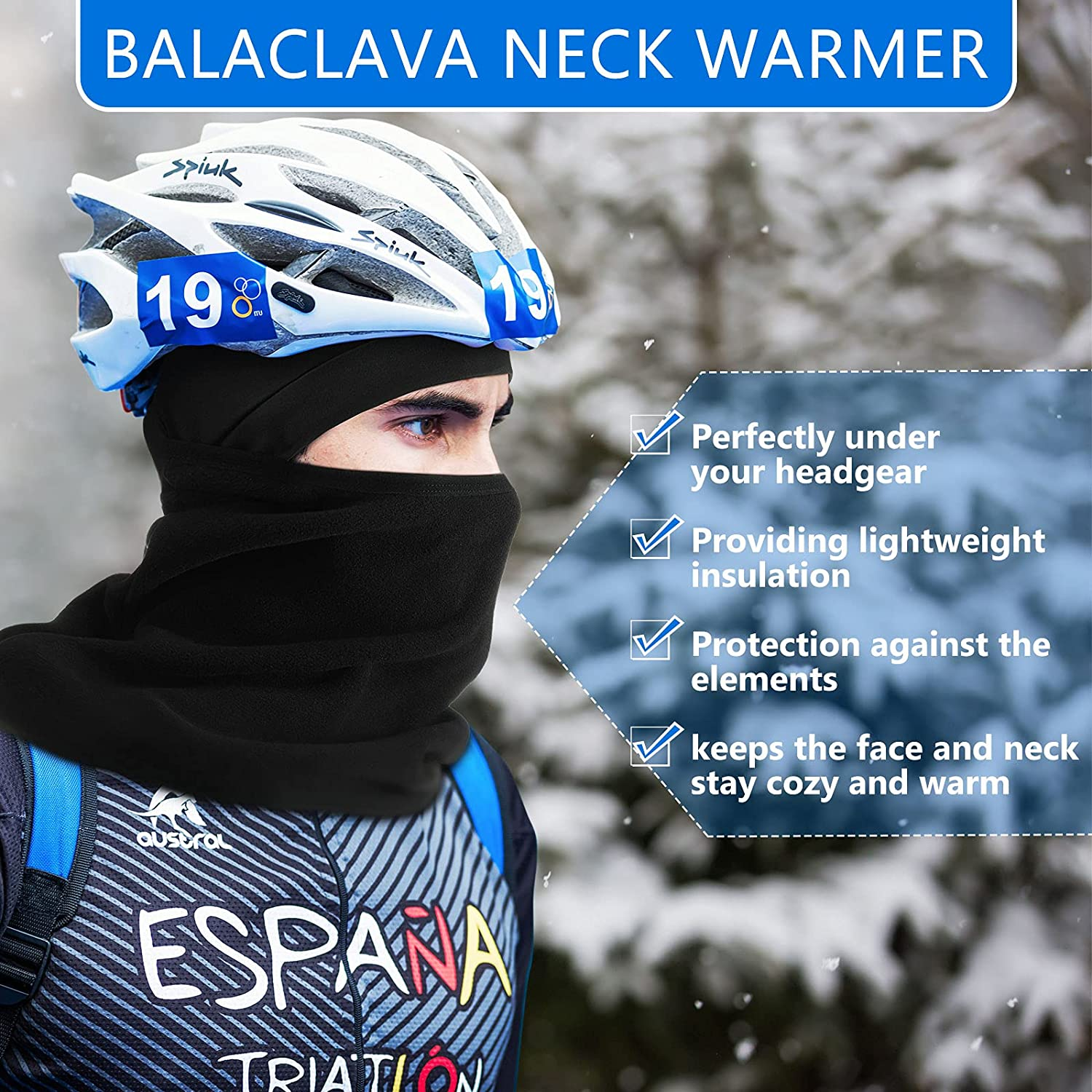 3 Pieces Winter Helmet Liner Skull Cap with Fleece Neck Gaiters Warmer Balaclava Ski Mask Winter Face Cover for Skiing, Snowboarding, Motorcycle Riding