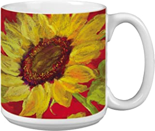 Sunflower Prima Donna Extra Large Mug, 20-Ounce Jumbo Ceramic Coffee Mug Cup - Gift for Flower and Garden Lovers (XM29584)...