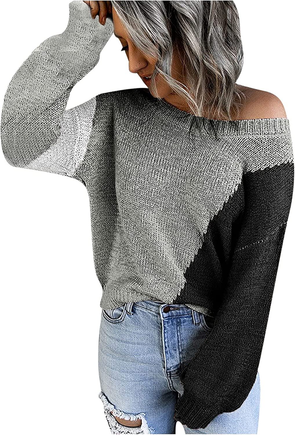 RFNIU Sweaters For Women Fall Fashion Color Block Off Shoulder Crewneck Pullover Casual Temperament Long Sleeve Tops