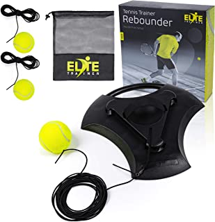 Elite Trainer Tennis Rebound Ball Set | Heavy Duty Power Base, No Filling Required | Three Tennis Balls, Long Elastic Rope, and Custom Mesh Bag | Premium Solo Training Equipment for Any Skill Level