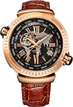 SURVAN WatchDesigner Men's Automatic World Time Mechanical Skeleton Watch Black Genuine Leather Strap