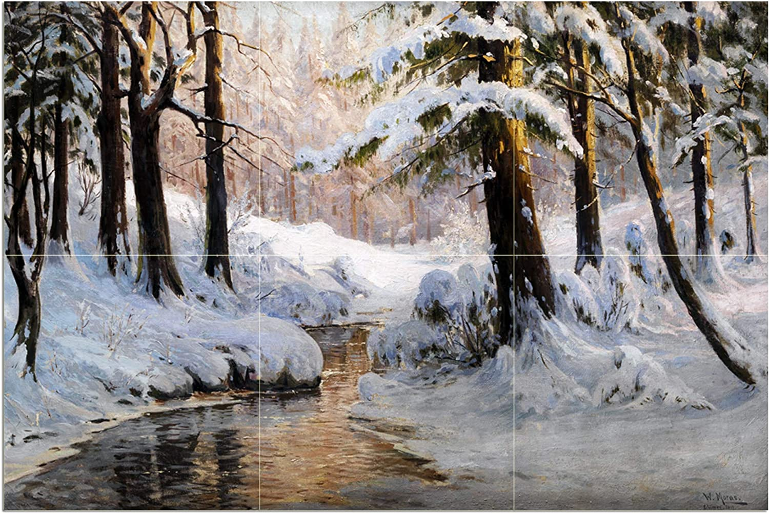 Tile Mural Landscape River New arrival Forest Pine Special price for a limited time Ki by Moras Winter Walter