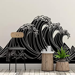 Japanese Typhoon Wave Abstract Wall Decal Sticker (21in Tall X 45in Wide) #6110s The Great Wave Off Kanagawa by Hokusai