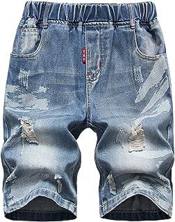 70cc391d54a3e YoungSoul Bermuda en Jean garço - Short en Jean déchiré avec Taille  élastique - Pantacourt Jeans