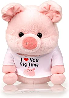 Pig Stuffed Animal - The Original Pink I Love You Pig Time - Large Plush Animals Toy with Removable Shirt