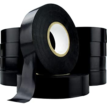 12-Pack BLack Commercial Electrical Tape 3//4-inch by 60-feet