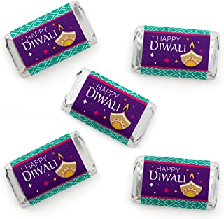 Big Dot of Happiness Happy Diwali - Mini Candy Bar Wrapper Stickers - Festival of Lights Party Small Favors - 40 Count