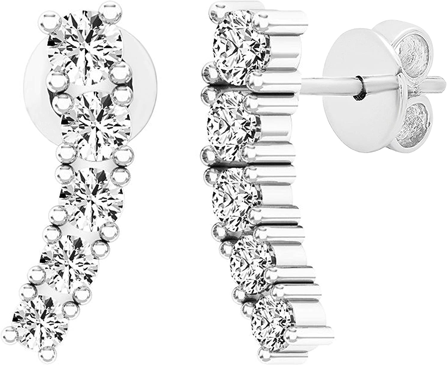 Dazzlingrock Collection 0.50 Carat (ctw) 10K Gold Round White Diamond Ladies Curved Bar Ear Climber Earrings 1/2 CT