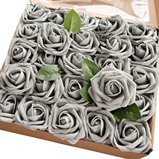Ling's moment Artificial Flowers 25pcs Real Looking Silver Grey Fake Roses w/Stem for DIY Wedding Bouquets Centerpieces Bridal Shower Party Home Decorations