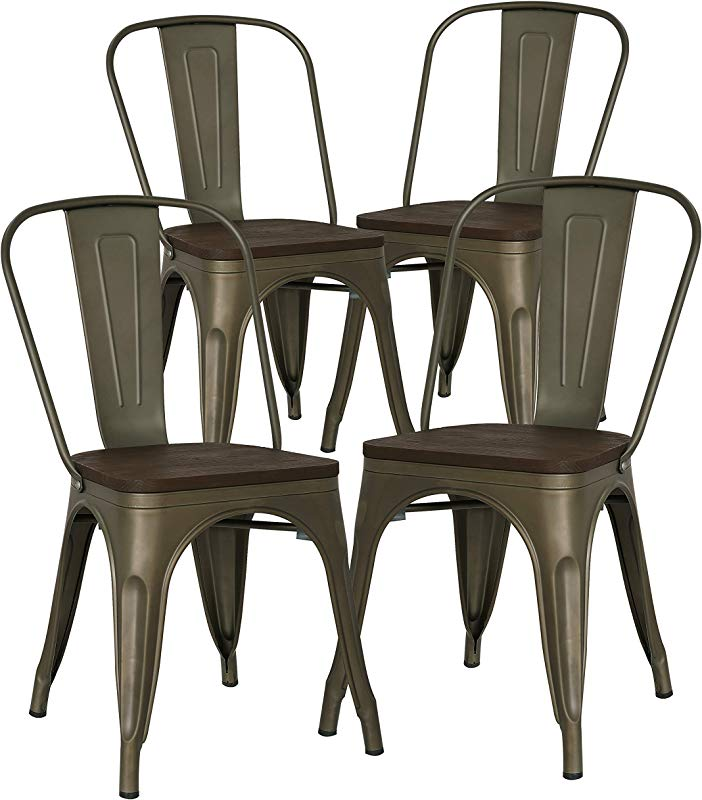 Poly And Bark Trattoria Kitchen And Dining Metal Side Chair With Elm Wood Seat In Bronze Set Of 4