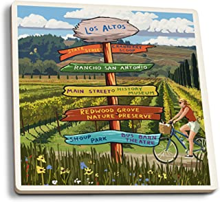 Lantern Press Cranberry Scoop, Los Altos, California - Destination Signpost (Set of 4 Ceramic Coasters - Cork-Backed, Absorbent)