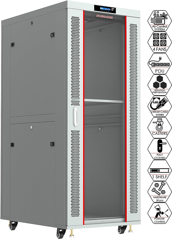 Server Rack - Locking Cabinet - Network Rack - Av Cabinet - 32U - Rack Mount - Free Standing Network Rack- Server Cabinet - Caster Leveler - Rack Shelf - Cooling Fan - Thermostat - PDU - Light Grey