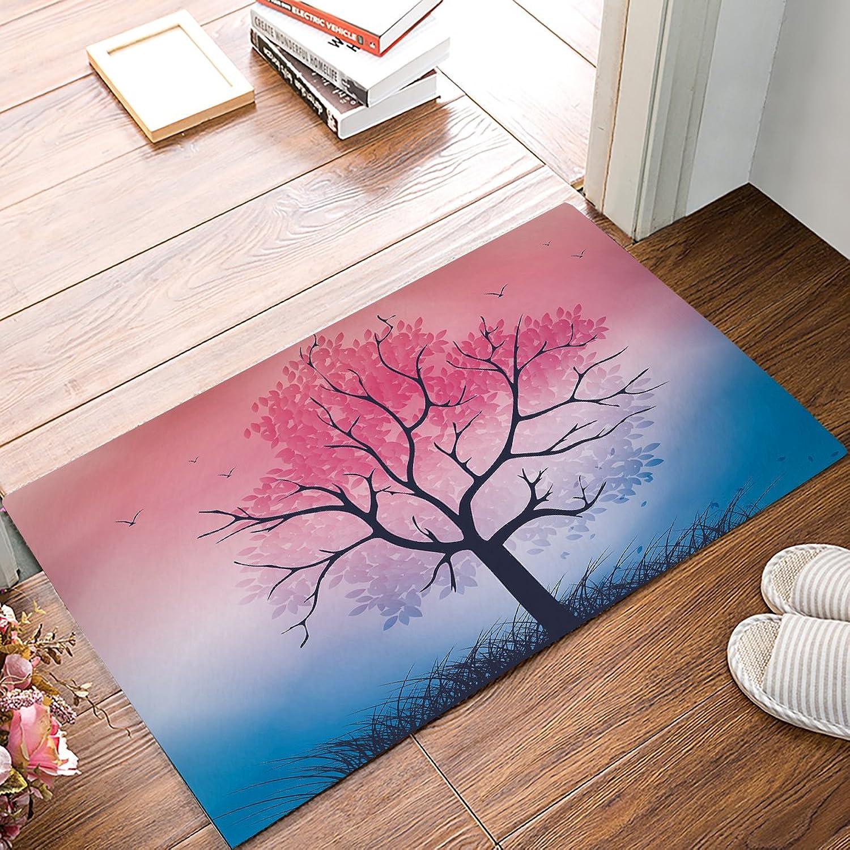 Non-Slip Door Mat Entrance Rug Rectangle Absorbent Moisture Floor Carpet for Indoor Outdoor colorful Landscape, Tree Pattern Doormat 20x31.5 inch