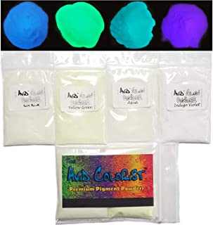 Glow in The Dark Pigment Powder - Neutral in Daylight; 4 Color Glow Powder Pack 15g Each; Sky Blue, Yellow Green, Aqua, Indigo Violet for Resin, Epoxy, Slime, Nail Polish, Paint