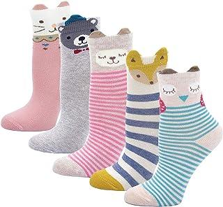 LOFIR, Calcetines Divertidos de Algodón para Niñas Calcetines Animales , Calcetines con Dibujos de Perro Gato, Calcetines Antideslizantes para Niñas de 2-11 Años, Talla 20-34, 5 pares