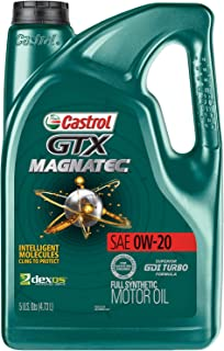 Castrol 03060 GTX MAGNATEC 0W-20 Full Synthetic Motor Oil, Green, 5 Quart