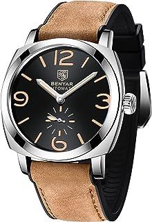 BENYAR Reloj Hombre Automatico Analógico Impermeable Relojes Hombre con Correa de Cuero