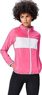 Activewear Women's Track Jacket with Hidden Hood Reflective Stripe