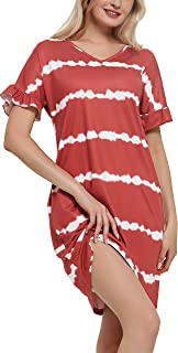 SEVEGO Women's Nightgown Sleepwear with 2 Pockets Striped Tie Dye Print Nightshirt Loungewear Pajama Dress