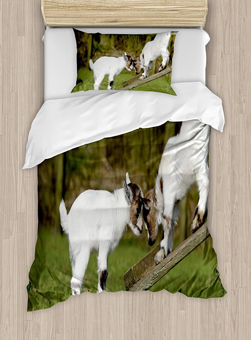 Ambesonne Animal Duvet Cover Set Twin Size, Two Cute Little Baby Goats on a Bench with Their Horns Picture Image Design, Decorative 2 Piece Bedding Set with 1 Pillow Sham, White and Green rpuj849275314910