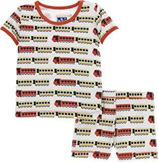 KicKee Pants Print Short Sleeve Pajama Set with Shorts in Natural Indian Train, 5 Years